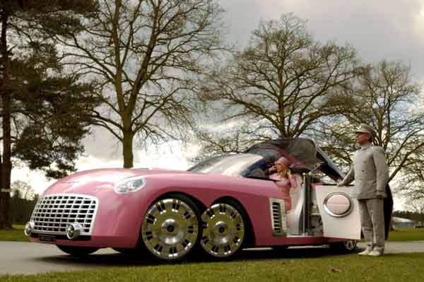 Lady Penelope's FAB1 the iconic six-wheeled Rolls-Royce painted in her trademark tone of pink