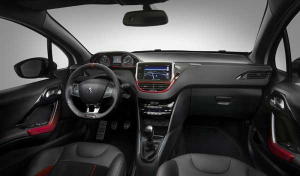 The interior of the 208 GTi